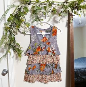 Anthropologie Rio Rio Floral Tiered Ruffle Blouse